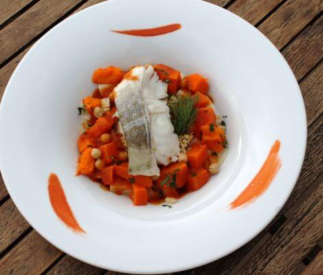 Recette dietetique Couscous cabillaud legumes hiver, restaurant thalasso oleron